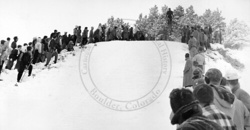 Photo - Steve Bradley jumps at the Opening of the Chatauqua Mesa Ski Area (1949)