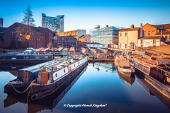 Gas Street Basin (atomikkingdom) Tags: street water pavement center waterways boats walk town light tunnel birmingham canal narrowboat apartment blue uk cloud centre cars sky bright ideas accommodation happy moored