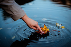 Fall for fall (gambajo) Tags: fall autumn leaf arm finger water colorful mood moody blue