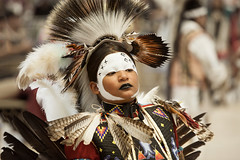 Confidence (CameraOne) Tags: confidence nativeamericanindian dancer powwow csusb sanbernardino california portrait beads feathers raw zoom telephoto fullframe naturallight bokeh canon5d canonef7020028ism handheld cameraone indoor tribal heritage topaz photoshop facepaint