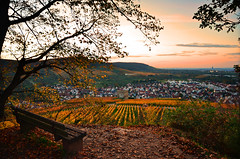Sit, look, enjoy... Part III (DrQ_Emilian) Tags: sunset sun sunlight fall autumn season color light landscape view nature outdoors hill vineyards bench october pattern town rural countryside stetten kernen remstal badenwürtemberg germany europe travel destination explore wanderlust relax 2017 sky clouds mood