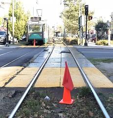 Orange cones (hansntareen) Tags: greenline mbta t cline trolley tracks