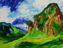 Mountainside (BKHagar *Kim*) Tags: bkhagar art artwork painting paint acrylic landscape mountain mountainside sky clouds