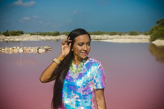 G2 (Esaú Alberto Canto Novelo) Tags: pink lady girl portrait outdoors blue light colors sea landscape model yucatán nature lake lagoon