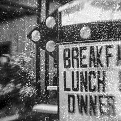 Breakfast Lunch Owner? (robert schneider (rolopix)) Tags: believeinfilm bwfp bw blackandwhite lovelock nevada nv sign gevapan dandipan blur expiredfilm flippedlens browniehawkeye brownie kodak instagram ifttt