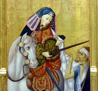 Gonçal Peris Sarrià (Valencia, c. 1380-1451) Retablo de san Martín con santa Úrsula y san Antonio abad (detalle de san Martín)