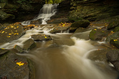 Autumn at Honey Run Falls. (+Lonnie & Lou+) Tags: nature travel longexposure nisi sony fall autumn waterfall ohio stream usa rural water