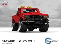 Unbreakable Toyota Hilux - TopGear (lego911) Tags: toyota hilux bbc topgear top gear indestructible auto car moc model miniland lego lego911 ldd render cad povray lugnuts challenge 119 extremeterrainadventures extreme terrain adventures 1981 n40