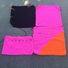 Four double crochet squares (crochetbug13) Tags: crochetbug crochet crocheted crocheting crochetsquares doublecrochet doublecrochetsquares pink olek loveacrosstheusa raleigh northcarolina