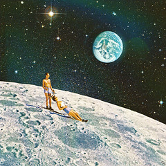 mt (woodcum) Tags: moon space deepspace cosmic cosmos stars planet planetearth earth people couple vacation ski tourists collage surreal retro vintage grain