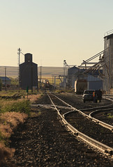 Dipping into town (GLC 392) Tags: cement ewg eastern washington gateway gate way railway railroad train emd sd45 sd452 sd40t2 wrix 8702 niwx 328 329 ewlx east wa grain golden light road shadows coulee city bins silo shuttle grass sky tree mountain back smoke glint dip evening aftenoon almira looking down tracks town crew