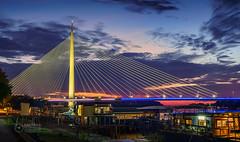 Ada-Bridge-Twilight-3 (Predrag Mladenovic) Tags: belgrade sava river ada bridge newrailway gazela sunset twilight reflections citylights