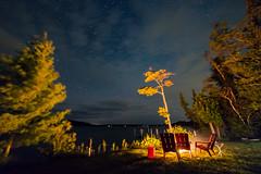 Summer Night Comfort (matthewkaz) Tags: fire firepit campfire night stars sky clouds trees limelake lake water reflection reflections cedar maplecity summer puremichigan michigan 2017