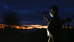 St Anthony Mary Claret (Lawrence OP) Tags: claretian mountclaret arizona phoenix sunset dusk silhouette cross missionary saint statue