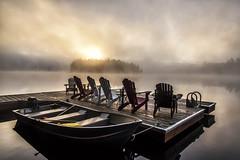Canadian Morning Blues (mystero233) Tags: canada morning ontario muskoka blues fog foggy dock lake lakes water boat seats sunrise sun dawn island tree forest reflection calm relax cold autumn fall outdoor landscape loneliness