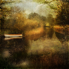 Last week of October (Birgitta Sjostedt) Tags: landscapeautumn fall water boat reflections outdoor scene serene texture unique birgittasjostedt park tree grass forest