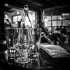 Empty Vessels (tim.perdue) Tags: empty vessels glass bottle brothers drake meadery columbus ohio short north bar table menu mead cysers cocktails spirits beer lights bokeh focus depth field dof windows black white bw monochrome square instagram