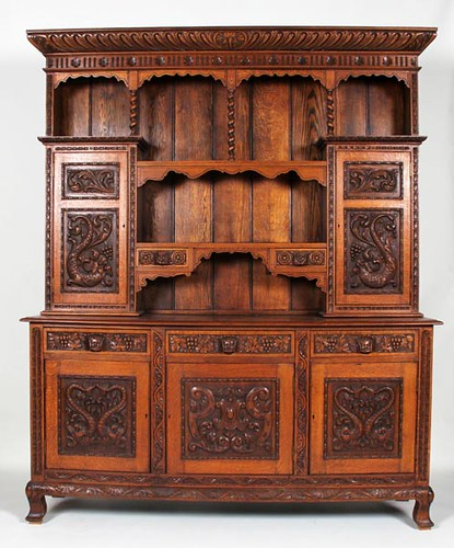 Heavily Carved English Oak Court Cupboard ($1,232.00)