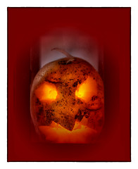 Piece of Halloween (BeMo52) Tags: halloween potato makro macro art germ keim illumination light licht beleuchtung red yellow rectangle rechteck border rand goblin kobold fall autumn herbst lantern laterne vignette oval macromondays