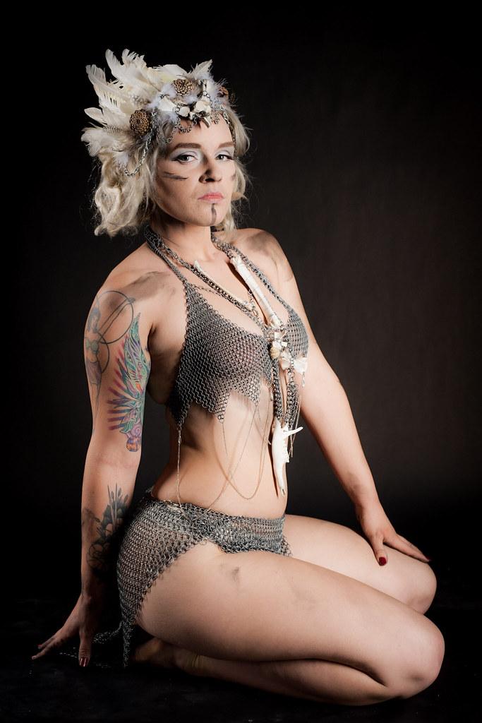 Gemma (Kotchka) Tags: gemma model portrait beautiful chainmail bikini  costume headdress dirty studio