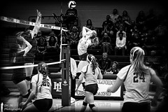 Volleyball scene (Dr. M.) Tags: athletes volleyball sport ball strong blockers blackwhite monochrome jump height power teamwork 500px nikon d500