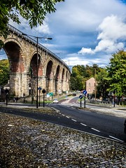 Durham City viaduct. (CWhatPhotos) Tags: durham city cwhatphotos viaduct bridge road rail sky blue olympus omd em10 digital camera photographs photograph pics pictures pic picture image images foto fotos photography artistic that have which with contain