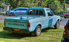 1981 Volkswagen Rabbit Pickup Truck-HCS! (Warming Up A Little) Tags: clichesaturday truck pickup 1981 rabbit volkswagen blue hdr parked grass cars street trumansburgny