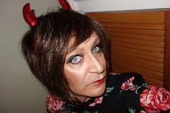 London 25/10/17 (Victoria HS) Tags: red horny devil tv transvestite transgender thigh boots high thighhighboots fishnets dress horns london lgbt