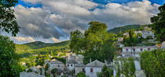 Πινακάτες Pinakates panorama (Dimitil) Tags: pelion pinakates tradition traditionalsettlement traditionalarchitecture stone stonevillage traditionalvillages mountain traditionalhouses sky clouds dramaticsky magnesia thessaly greece hellas church orthodoxy religion