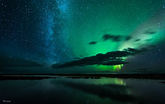 The milky way and the aurora (unneva) Tags: auroraborealis milkyway nightshot astrophotograpy nigth sky stars longexposure iceland landscape nature