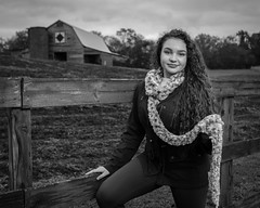 Good Fence (lancekingphoto) Tags: model teen teenmodel outdoors country farm barn woodenfence tennessee thesouth fashion scarf blackandwhite youngwoman longhair smile fujifilmxt2 fujinonxf23mmf14r field pasture