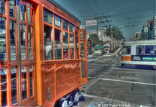 MUNI F-LINE CARS--1834, etc., at Market/Church