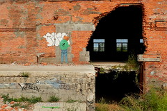 Art Drawing Art (FrogLuv) Tags: thedequindrecut detroitmichigan bicycle railstotrails murals graffiti viaduct tagging