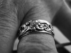 ring (Lainey1) Tags: bw monochrome hand ring wrinkles jewelry macromode lainey1 elainedudzinski olympus olympusxz1