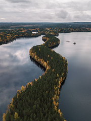 Giant snake shedding its skin to autumn. (L.Matero) Tags: nature leivonmäki finland suomi national park water dji drone droneshot mavic pro autumn trees green yellow lake high air clouds reflection rural tranquil