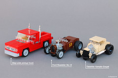 Art Déco Gas Station | pickup and Hot rods (Andrea Lattanzio) Tags: takehito yamato coupe ford 32 pickup truck hotrod chevrolet lego cars car minifig minifigure