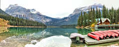 Emerald Lake, Yoho National Park, B.C. - ICE(5)2379-94 (photos by Bob V) Tags: emeraldlake yoho yohopark yohonationalpark panorama mountainpanorama mountains rockymountains rockies canadianrockies reflection reflectiononwater emeraldlakelodge britishcolumbia britishcolumbiacanada