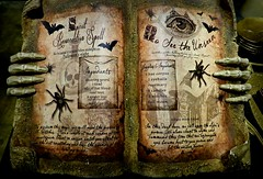 Casting a Spell (Bennilover) Tags: book incantations witches spells toads spiders books recipes incantation old halloween rogersgardens skeleton hands