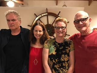 Artist Robert Chambers with Elisa Turner and artists Pip and Duane Brant celebrating Elisa's birthday at the Coconut Grove Sailing Club