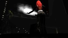 Running up the stairs in the dark (Myra Wildmist) Tags: secondlife sl myrawildmist virtualart virtualphotography dark negativespace stairs