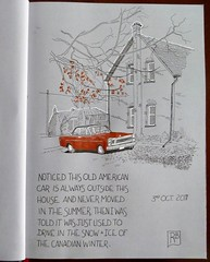 Red Car 3rd Oct 2017 (oxlade134) Tags: sketch pen ink red car fall