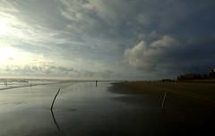 Horizan (Sajeeb75) Tags: sea sunset water beach blue clouds ocean horizon shore sundown dawn shoreline daybreak jetty orange sky pink