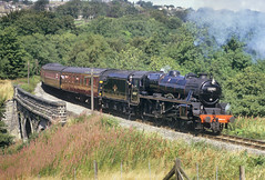George Stephenson At Mytholmes. (Neil Harvey 156) Tags: steam steamloco steamengine steamrailway railway 44767 georgestephenson mytholmesviaduct mytholmes keighleyworthvalleyrailway kwvr worthvalleyrailway black5 lms stanier