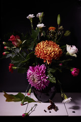 Flower still life (onemanifest) Tags: stilllife flower still life chrysant rose lilly white red lilac pink seventeenthcentury dutchmasters mimick style lighting flowerstilllife insect fly seeds leaf green naturemorte naturemortedefleurs canon canoneos750d composition light
