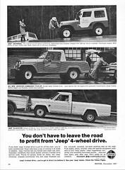 1968 Jeep Universal, Commando, and Gladiator (aldenjewell) Tags: 1968 jeep universal jeepster commando pickup gladiator ad kaiser
