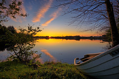 Vormedal, Norway (Vest der ute) Tags: xt2 norway rogaland karmøy water waterscape landscape lake grass sky boat trees sunrise earlymorning outdoor reflections mirror fav25 fav200