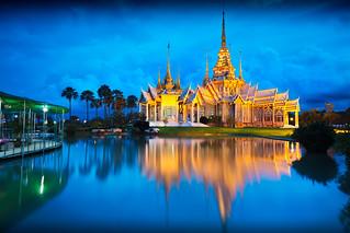 Wat None Kum at dusk, Nakhon Ratchasima province Thailand