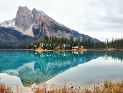 Emerald Lake, Yoho National Park , B.C. -  ICE(5)2430-36 (photos by Bob V) Tags: emeraldlake yoho yohopark yohonationalpark panorama mountainpanorama mountains rockymountains rockies canadianrockies reflection reflectiononwater emeraldlakelodge britishcolumbia britishcolumbiacanada