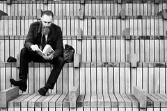 Day 292. Big bench, big beard. (Rob Emes) Tags: street london urban city reading sitting man beard bench bw black mono g7xii canon 3652017 365 oct2017