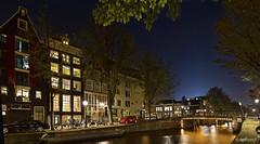 Amsterdam. (alamsterdam) Tags: amsterdam canal leidsegracht evening longexposure reflection bridge cars bikes boat